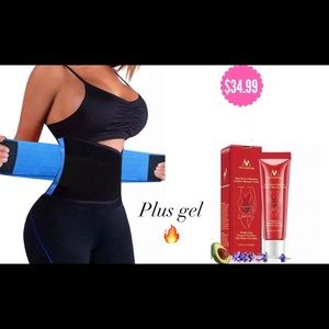 Blue New Sweat Waist Trainer with Burning Gel 🔥